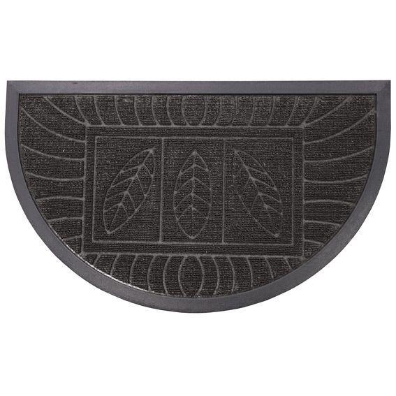 Tapis d 39 entr e demi lune feuilles noir tapis pour la for Tapis de cuisine demi lune