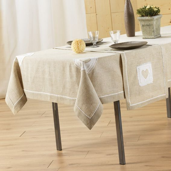 nappe rectangulaire l240 cm mont blanc brod lin nappe de table eminza. Black Bedroom Furniture Sets. Home Design Ideas
