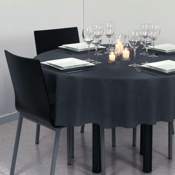 Nappe ronde d180 cm lina gris fonc nappe de table - Nappe bleu fonce ...