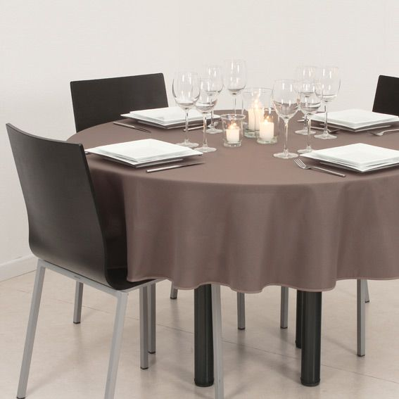 nappe ronde d180 cm lina taupe nappe de table eminza. Black Bedroom Furniture Sets. Home Design Ideas