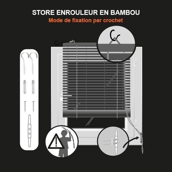 store enrouleur baguettes 40 x h90 cm bambou naturel. Black Bedroom Furniture Sets. Home Design Ideas