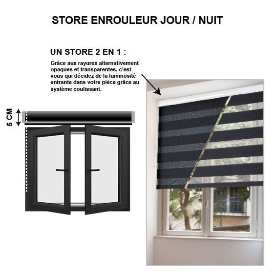 store enrouleur 45 x h180 cm jour nuit noir store. Black Bedroom Furniture Sets. Home Design Ideas