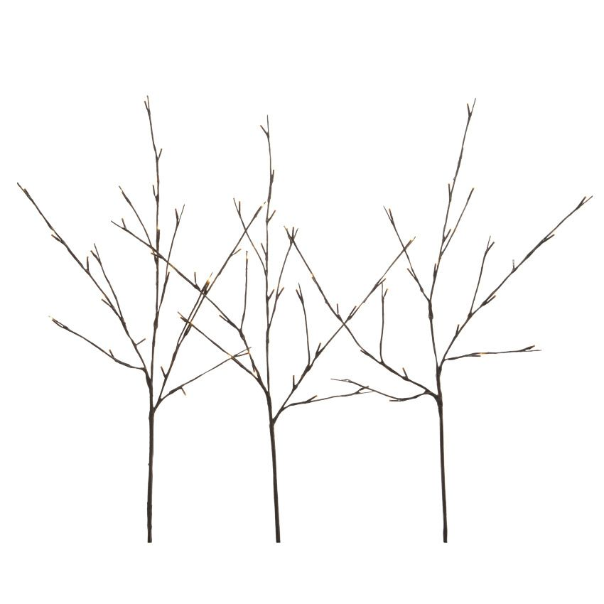 lot de 3 branches lumineuses iwu 72 led blanc chaud fleur et branche d 39 hiver eminza. Black Bedroom Furniture Sets. Home Design Ideas