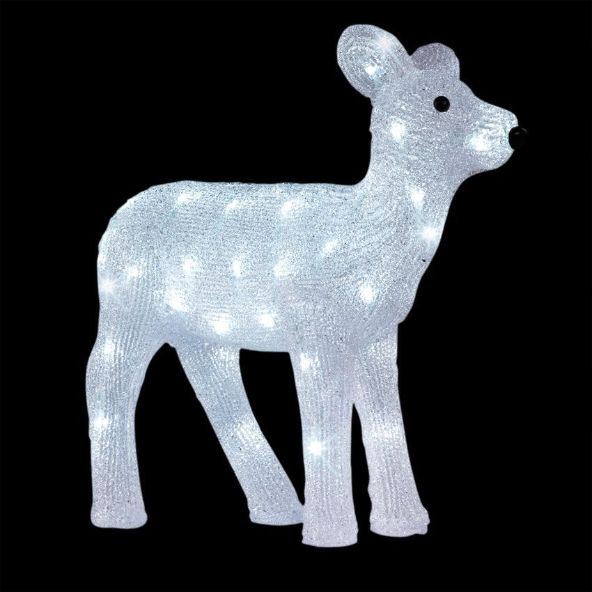 Renne lumineux abondance blanc froid 48 led silhouette - Decoration noel renne lumineux ...