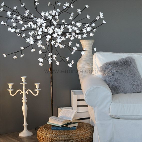 cerisier lumineux flaine h180 cm blanc froid sapin arbre eminza. Black Bedroom Furniture Sets. Home Design Ideas