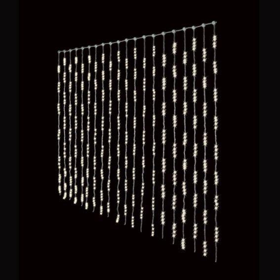 Rideau lumineux 1280 led blanc chaud for Rideau lumineux interieur