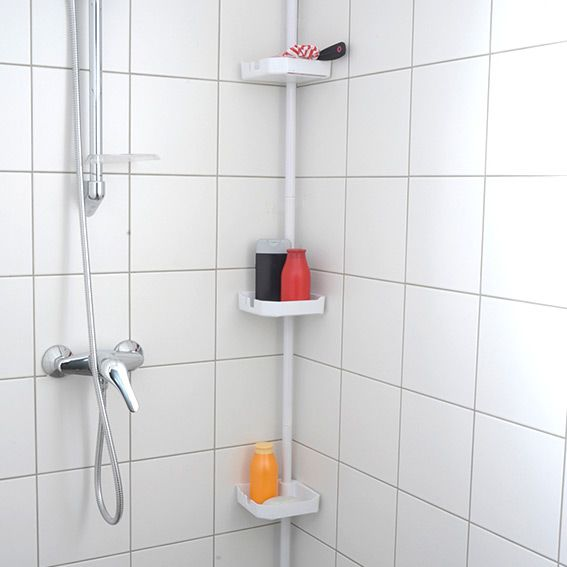 Etag re colonne t lescopique de douche m tal etag re for Rangement de douche