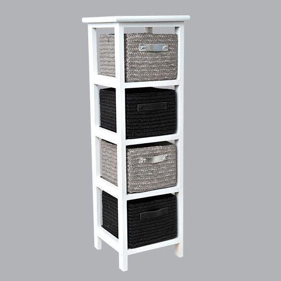 Meuble panier narrow noir meuble d co eminza for Meuble salle de bain avec panier