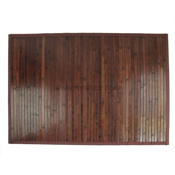 Tapis de bain lattes bambou weng chocolat tapis salle - Tapis salle de bain bois ...