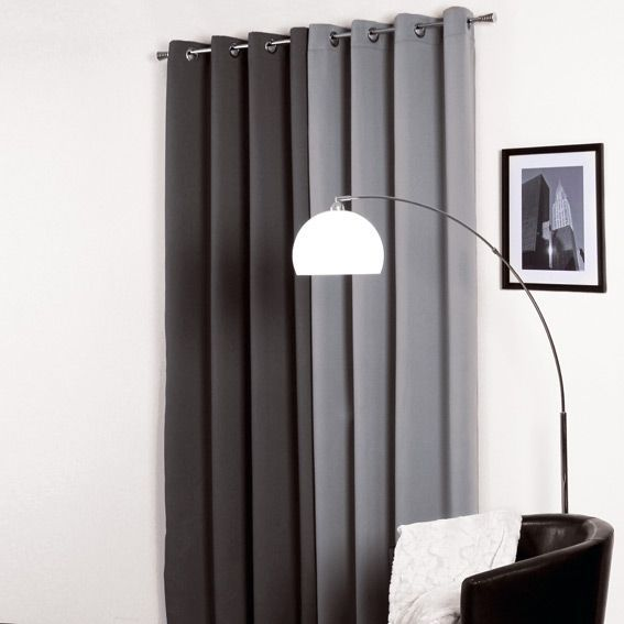 rideau occultant 140 x h260 cm satin gris rideau. Black Bedroom Furniture Sets. Home Design Ideas