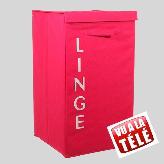 Panier linge en tissu lettres rose panier linge eminza - Panier a linge 2 compartiment ...