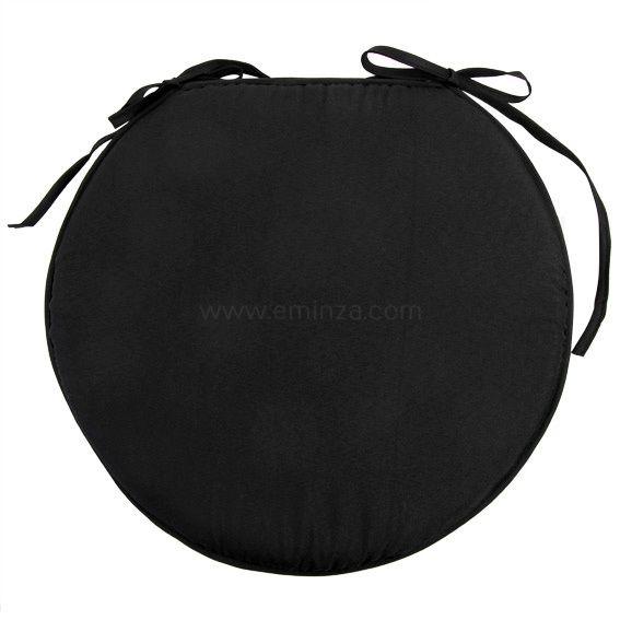 Galette de chaise ronde nelson noir galette et coussin for Galette de chaise noire