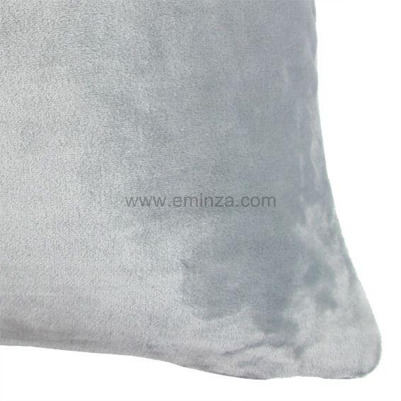 Housse de coussin 60 cm doudou gris clair housse de for Housse de canape gris clair