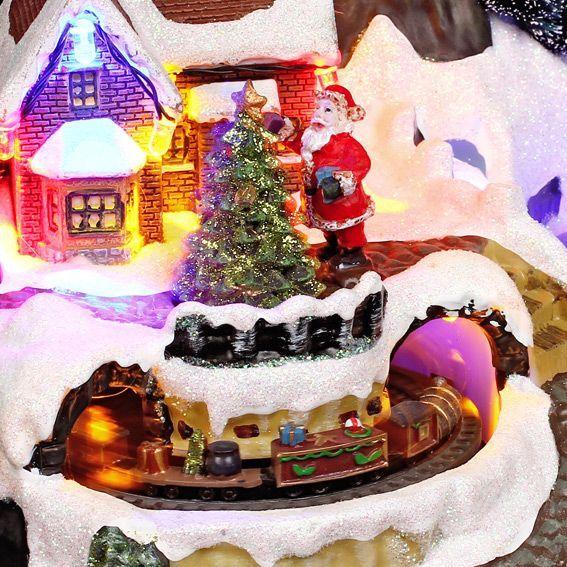 Village de no l lumineux avec un train village de no l lumineux eminza - Village de noel lumineux ...