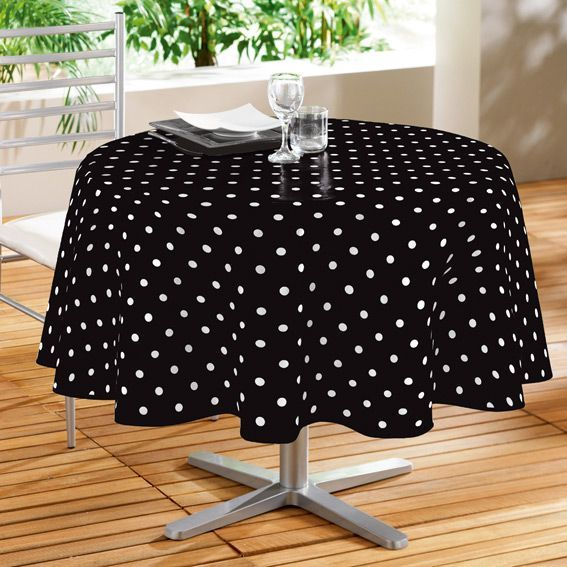 nappe cir e ronde d160 cm lollypop noir linge de table eminza. Black Bedroom Furniture Sets. Home Design Ideas