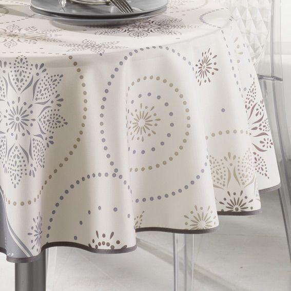 nappe ronde d180 cm astree beige nappe de table eminza. Black Bedroom Furniture Sets. Home Design Ideas