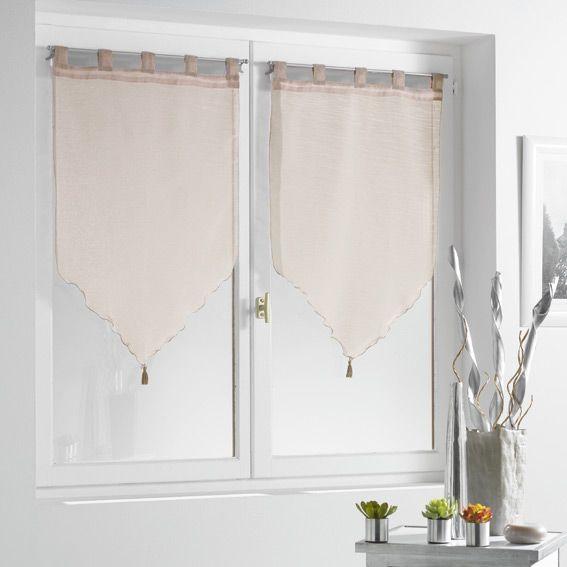 paire de voilage 90 x h160 cm lissea taupe rideau et voilage eminza. Black Bedroom Furniture Sets. Home Design Ideas