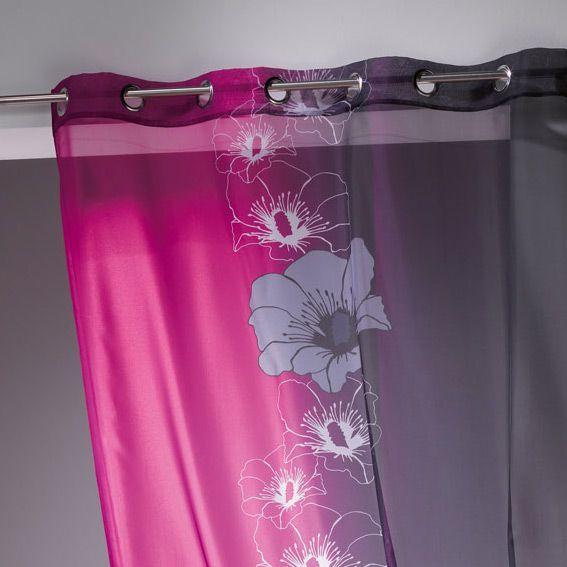 voilage oeillets maeva rose fuchsia voilage eminza. Black Bedroom Furniture Sets. Home Design Ideas