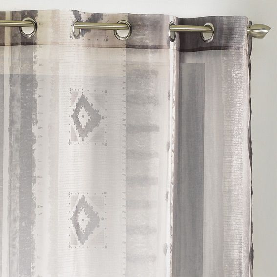 voilage 140 x h240 cm ethnique taupe voilage eminza. Black Bedroom Furniture Sets. Home Design Ideas
