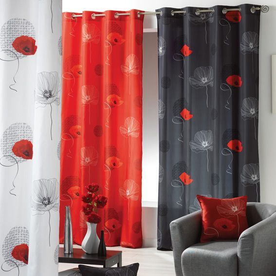 rideau 140 x h260 cm poppy rouge rideau tamisant eminza. Black Bedroom Furniture Sets. Home Design Ideas