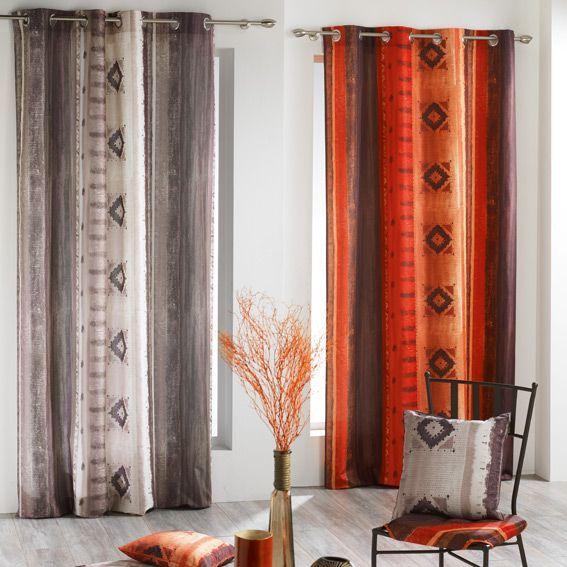 rideau 140 x h260 cm ethnique cuivre rideau tamisant eminza. Black Bedroom Furniture Sets. Home Design Ideas