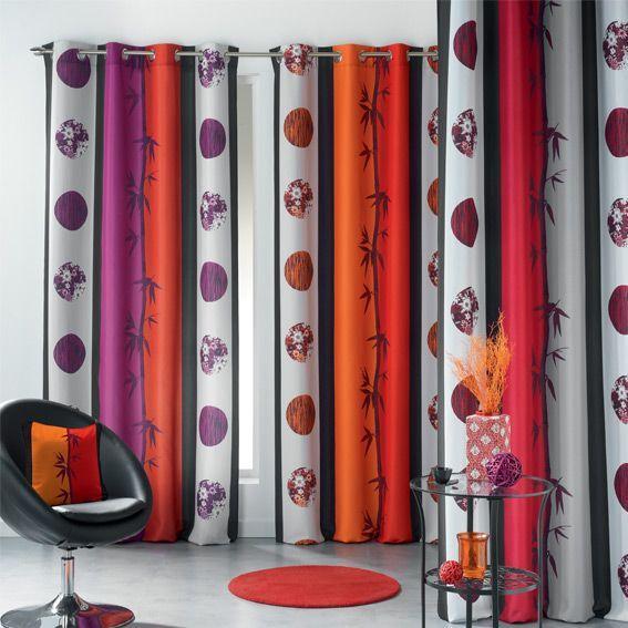 rideau oeillets sana rouge et orange rideau tamisant eminza. Black Bedroom Furniture Sets. Home Design Ideas