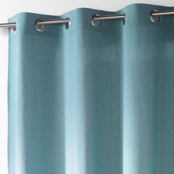 rideau oeillets ethique uni bleu rideau tamisant eminza. Black Bedroom Furniture Sets. Home Design Ideas