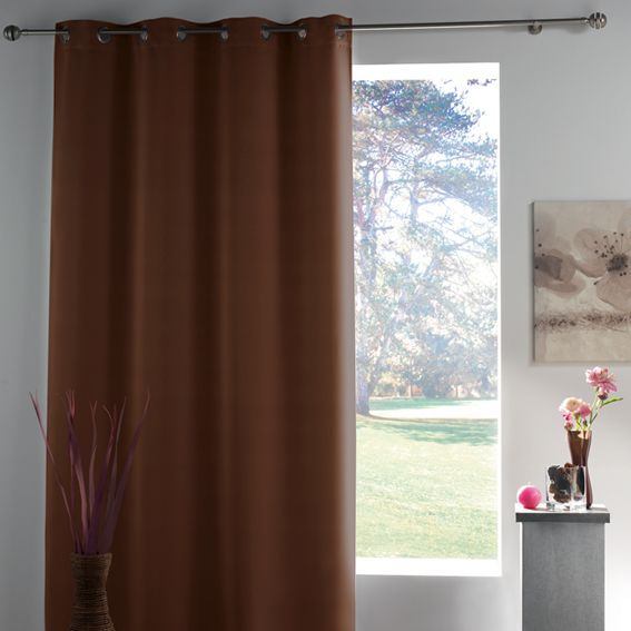 rideau occultant 140 x h260 cm lumia chocolat rideau occultant eminza. Black Bedroom Furniture Sets. Home Design Ideas