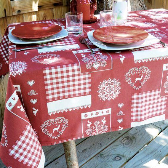 nappe rectangulaire l250 cm thones rouge nappe de table eminza. Black Bedroom Furniture Sets. Home Design Ideas