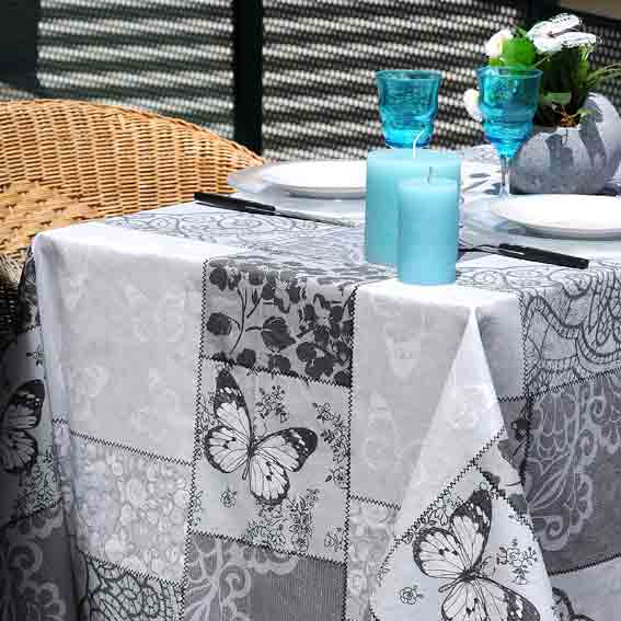 nappe rectangulaire enduite bolero gris anti tache nappe de table eminza. Black Bedroom Furniture Sets. Home Design Ideas