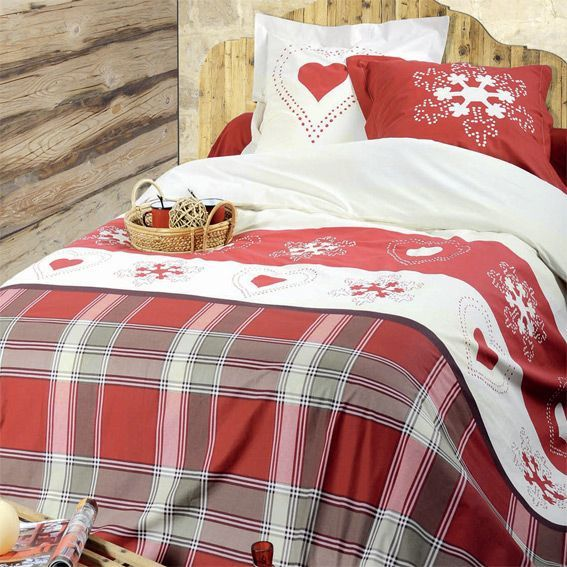 parure de draps 4 pi ces abries rouge parure de draps. Black Bedroom Furniture Sets. Home Design Ideas
