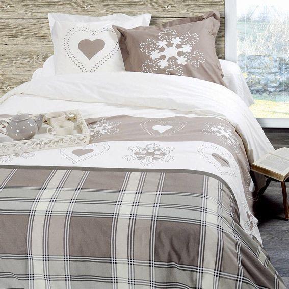 housse de couette et deux taies 240 cm abries taupe. Black Bedroom Furniture Sets. Home Design Ideas