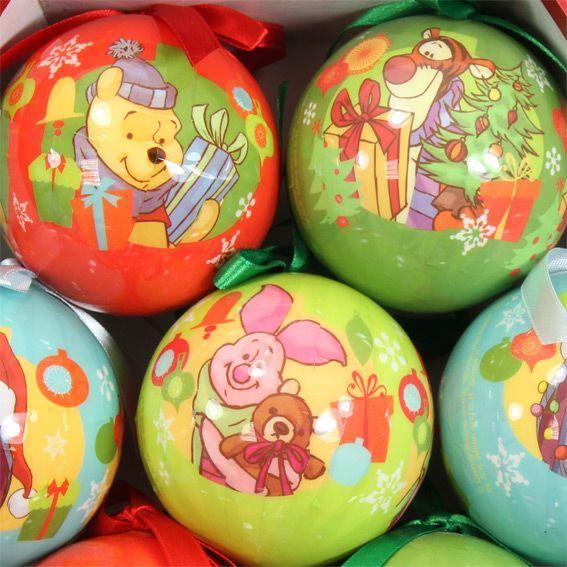 Coffret de 7 boules de no l disney winnie l 39 ourson boule de no l eminza - Boule de noel disney ...