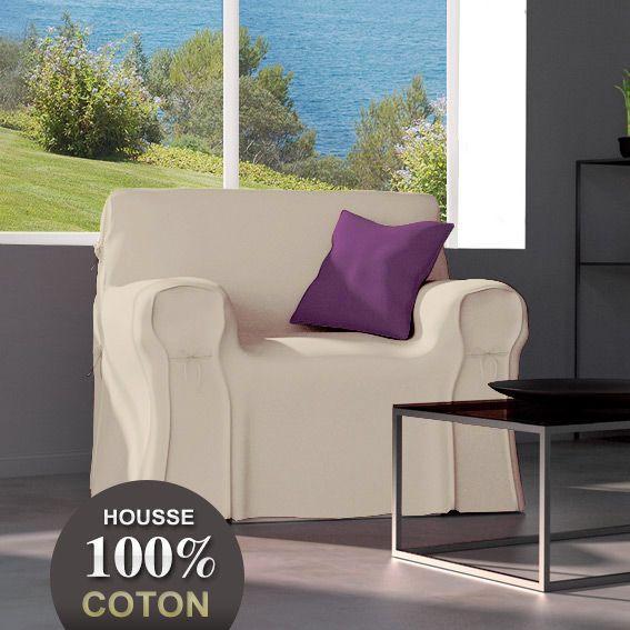 Housse de fauteuil lin housse de fauteuil eminza for Housse coussin fauteuil