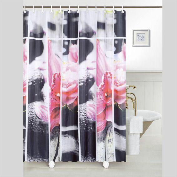 Rideau de douche galet rose premium rideau de douche - Rideau de douche fly ...