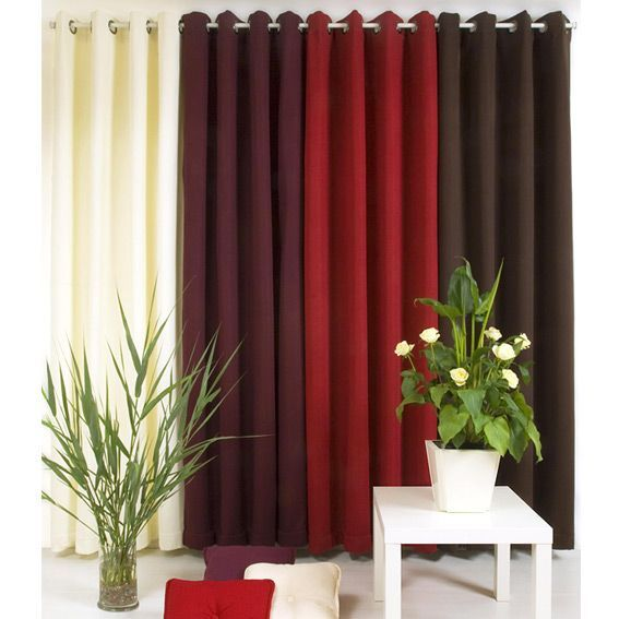 rideau occultant thermique 135 x h250 cm rouge rideau isolant eminza. Black Bedroom Furniture Sets. Home Design Ideas