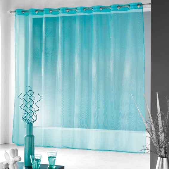 voilage 300 x h240 cm finette turquoise voilage eminza. Black Bedroom Furniture Sets. Home Design Ideas