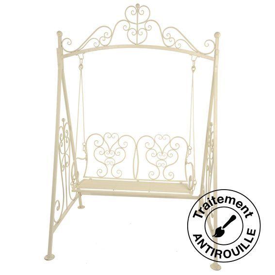 balancelle elisabeth style fer forg ecru mobilier style fer forg eminza. Black Bedroom Furniture Sets. Home Design Ideas