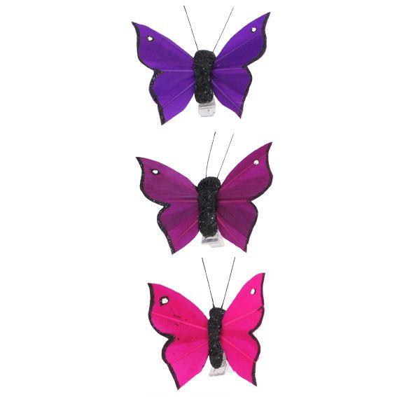 Lot de 3 papillons bounty fuchsia prune et violet - Violet prune couleur ...