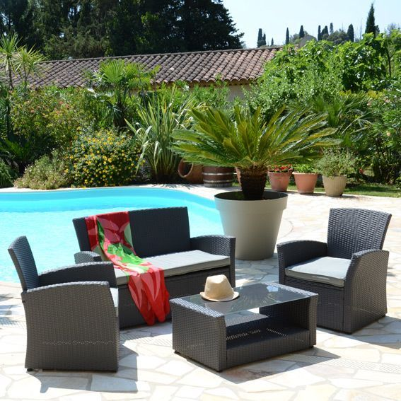 Salon de jardin ibiza anthracite gris clair 4 places for Salon jardin gris clair