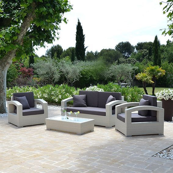Salon de jardin panama blanc 5 places salon de jardin for Site mobilier jardin