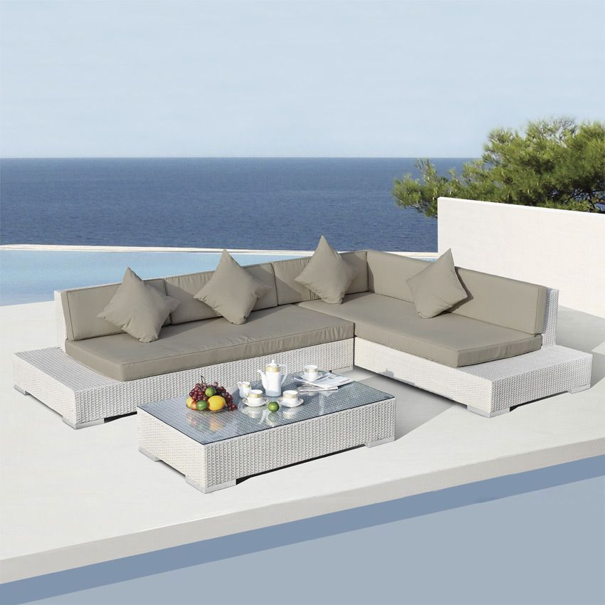 Salon de jardin maldives blanc taupe 5 places salon de for Salon de jardin blanc design