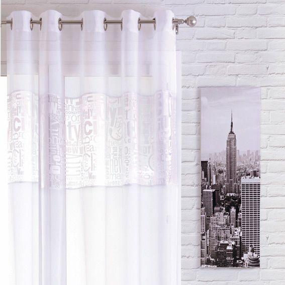 voilage 140 x h240 cm typo new york blanc voilage eminza. Black Bedroom Furniture Sets. Home Design Ideas