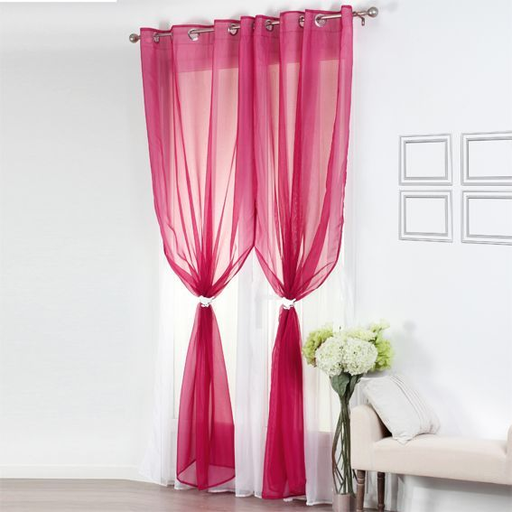 voilage 140 x h240 cm bicolore double framboise blanc. Black Bedroom Furniture Sets. Home Design Ideas