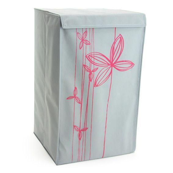 panier linge fleur rose gris panier linge eminza. Black Bedroom Furniture Sets. Home Design Ideas