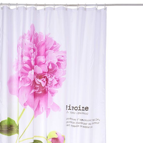 rideau de douche pivoine rose premium rideau de douche eminza. Black Bedroom Furniture Sets. Home Design Ideas
