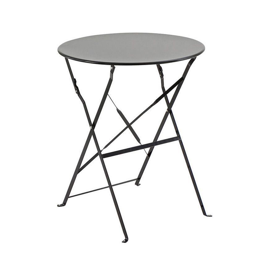 Table de jardin ronde pliante Métal Camargue (D60 cm) - Noir ...