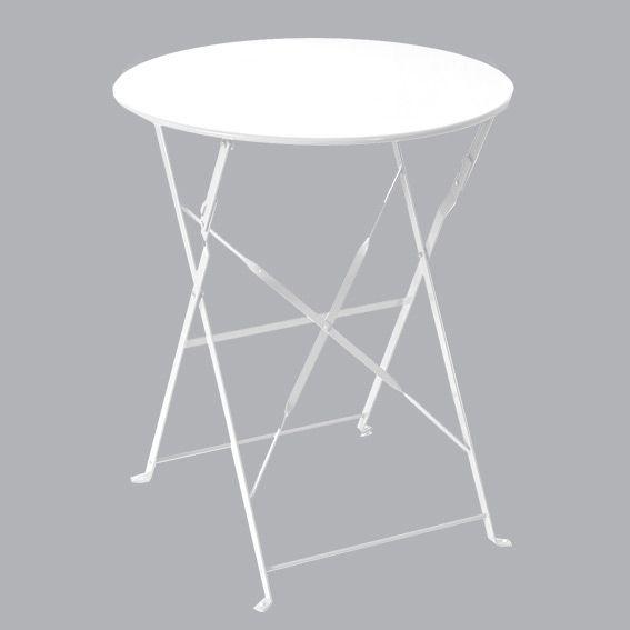 Table de jardin ronde pliante Métal Camargue (D60 cm) - Blanc ...