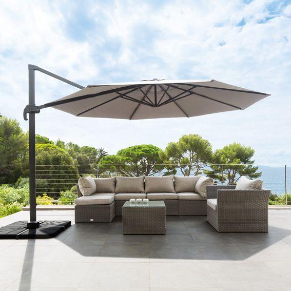 parasol d port fresno rond anthracite parasol d port. Black Bedroom Furniture Sets. Home Design Ideas