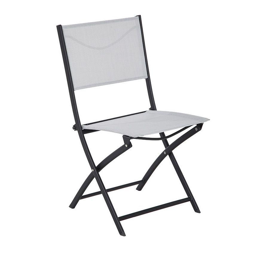 Chaise de jardin modula gris clair noir chaise et fauteuil de jardin eminza - Chaise salon de jardin noir ...